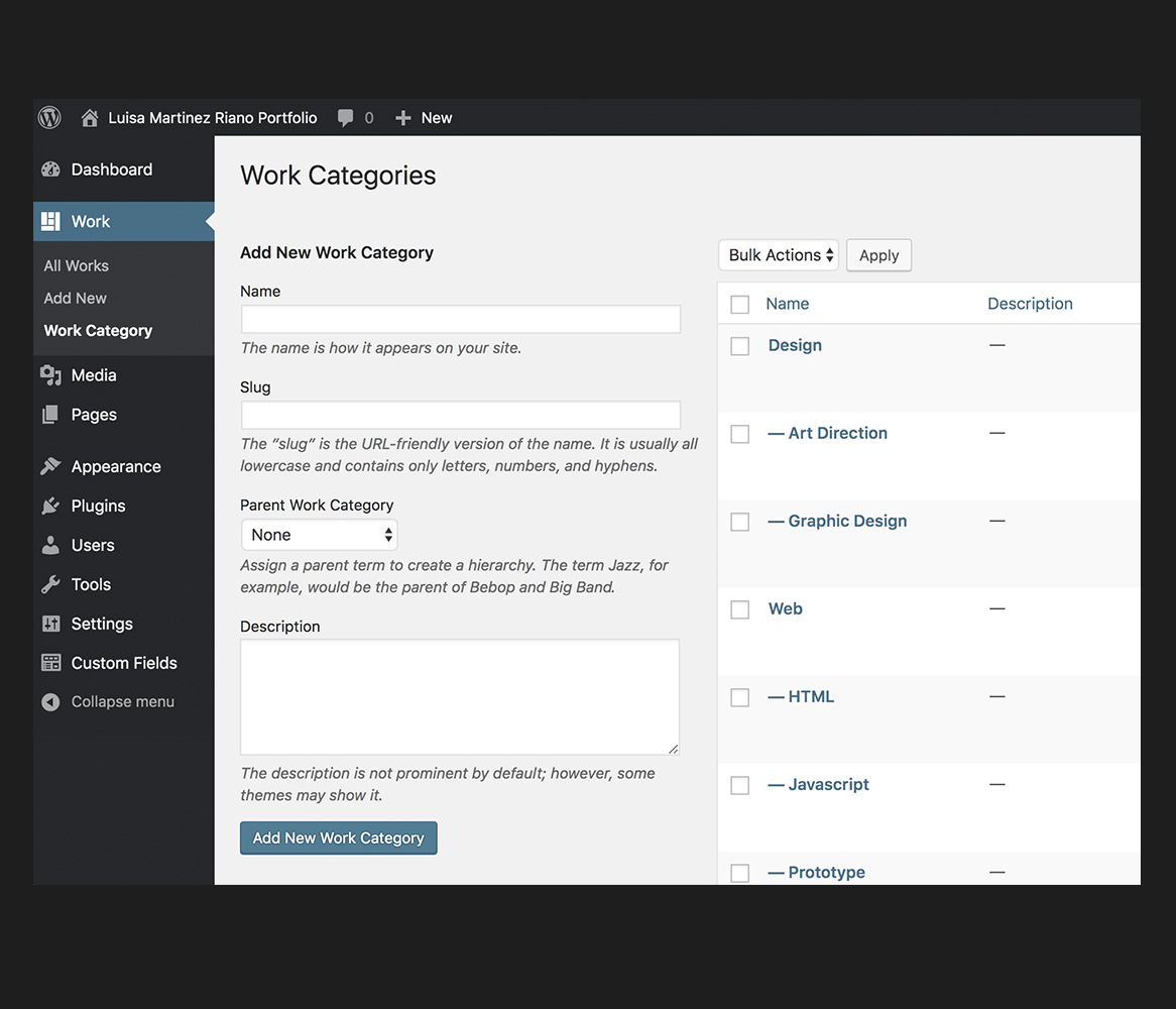 portfolio custom fields