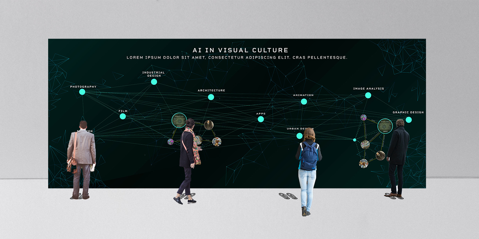 installation mock-up. large scale wall with a network and 4 people standing in front.