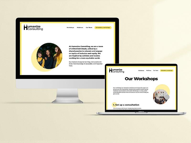 laptop and desktop with humanize consulting website
