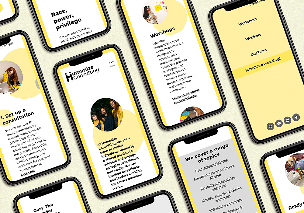 iphones on a light yellow background showing the humanize mobile site