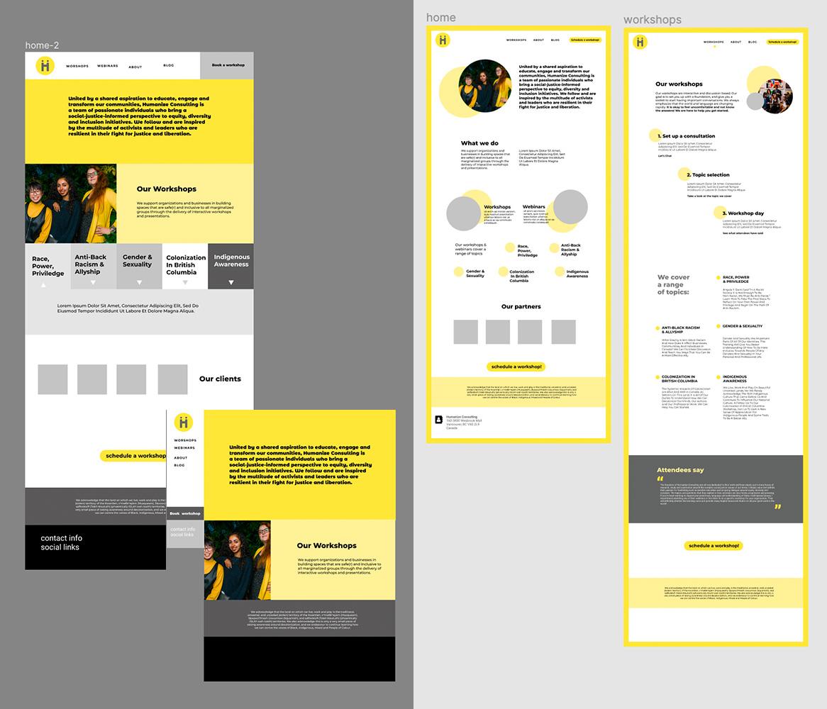 website design options, yellow and grey mockups