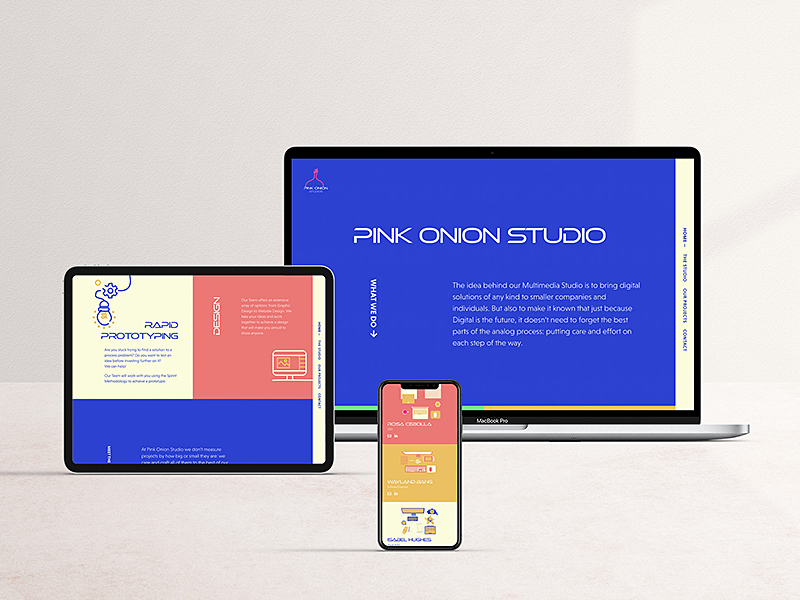 pink onion studio website shown on laptop, ipad and iphone