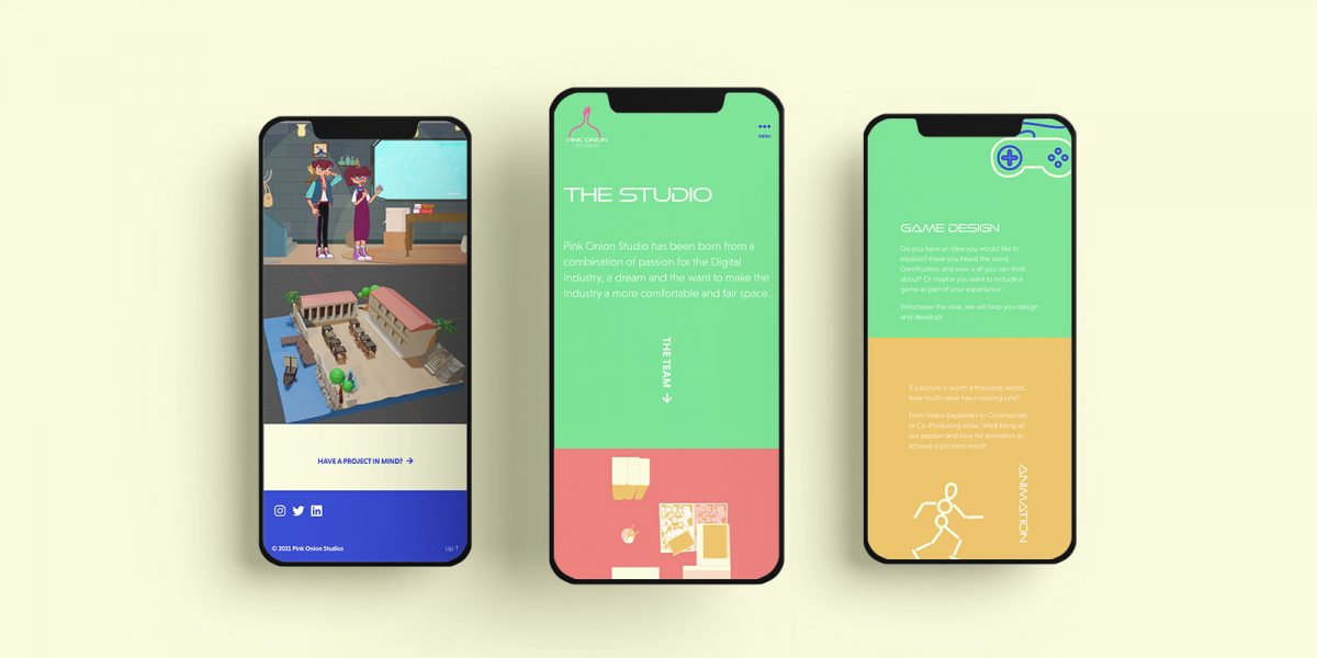 3 vector images of phone screens with color blocks and illustrations of top view desks