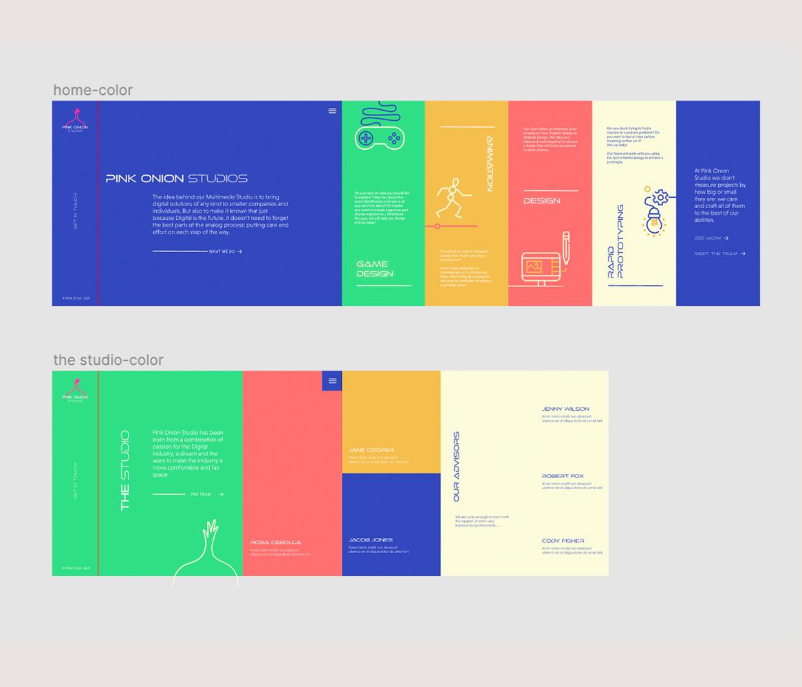 colorful mockup, vertical scrolling